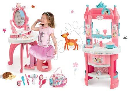 Komplet kuhinja Princeske Smoby dvostranska s stolpi in 19 dodatki in kozmetična mizica s stolčkom ter kozmetična torbica