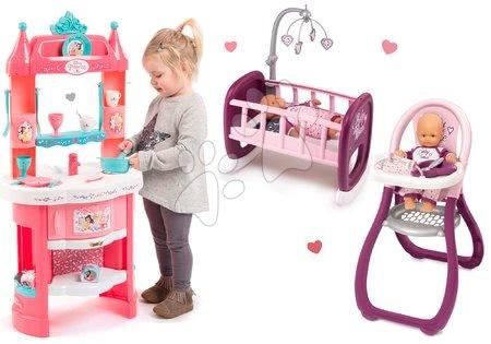 Szett játékkonyha Hercegnők Smoby kétoldalas, tornyokkal és 19 kiegészítővel és etetőszék és bölcső játékbabának