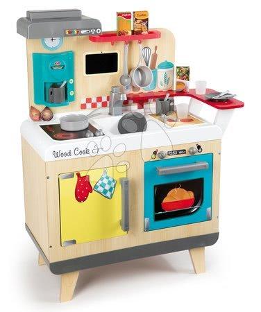 črepiny s hviezdičkou nikola Drevená kuchynka pre deti Wood Cook Smoby s  kávovarom, barovým pultom a 22 doplnkami