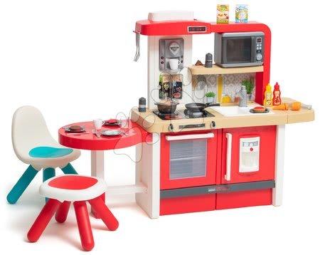 Kuchynka rastúca s tečúcou vodou a mikrovlnkou Tefal Evolutive Gourment Smoby stoličkou a stolčekom SM312311-E