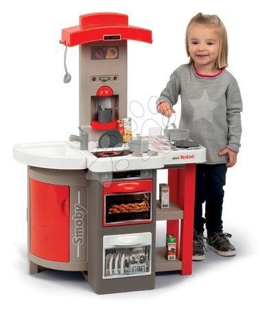 Detské kuchynky - Kuchynka skladacia elektronická Tefal Opencook Smoby červená s kávovarom a chladničkou a 22 doplnkov_1