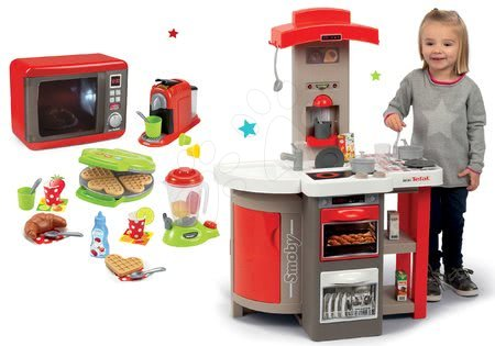 Set kuchyňka skládací Tefal Opencook Smoby červená s kávovarem a chladničkou a mikrovlnka a vaflovač se spotřebiči a vaflemi