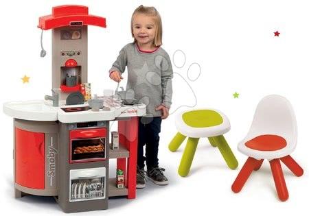 Set kuchyňka skládací Tefal Opencook Smoby červená s kávovarem a chladničkou a se židlí a stolečkem