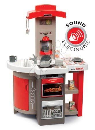 Detské kuchynky - Kuchynka skladacia elektronická Tefal Opencook Smoby červená s kávovarom a chladničkou a 22 doplnkov
