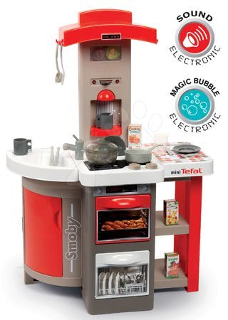 Detské kuchynky - Kuchynka skladacia elektronická Tefal Opencook Bubble Smoby červená so zvukom magickým bublaním a kávovarom a 24 doplnkov
