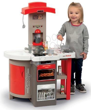 Detské kuchynky - Kuchynka skladacia elektronická Tefal Opencook Bubble Smoby červená so zvukom magickým bublaním a kávovarom a 24 doplnkov_1