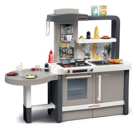 Detské kuchynky - Kuchynka rastúca s tečúcou vodou Tefal Evolutive Smoby strieborná s magickým bublaním cestovinami mrkvou a 40 doplnkov