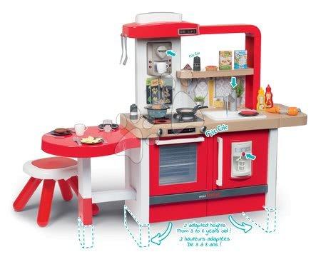 Detské kuchynky - Kuchynka rastúca s tečúcou vodou Tefal Evolutive Grand Chef Smoby červená s magickým bublaním cestovinami mrkvou stoličkou a 43 doplnkov_1