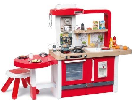 Detské kuchynky - Kuchynka rastúca s tečúcou vodou Tefal Evolutive Grand Chef Smoby červená s magickým bublaním cestovinami mrkvou stoličkou a 43 doplnkov