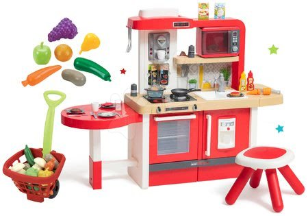 Elektronické kuchynky - Set kuchynka rastúca s tečúcou vodou Tefal Evolutive Grand Chef Smoby s mikrovlnkou a nákupným vozíkom