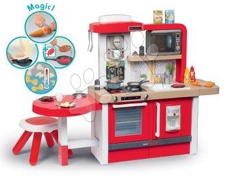 Kuhinja s tekočo vodo z možnostjo povišanja in mikrovalovko Tefal Evolutive Gourment Smoby rdeča s čarobnimi mehurčki mikrovalovko stolčkom in 43 dodatki