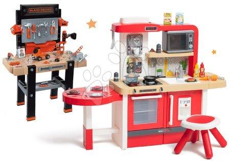 Set bucătărie de jucărie, care crește împreună cu vârsta cu apă curgătoare și microunde Tefal Evolutive Smoby și bancă de lucru Black+Decker cu mașinuță asamblabilă