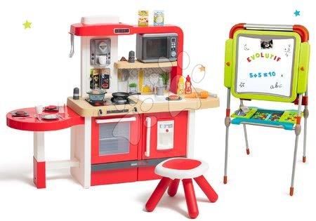 Set bucătărie de jucărie, care crește împreună cu vârsta cu apă curgătoare și microunde Tefal Evolutive Smoby și tablă de desenat și magneți Evolutiv Board