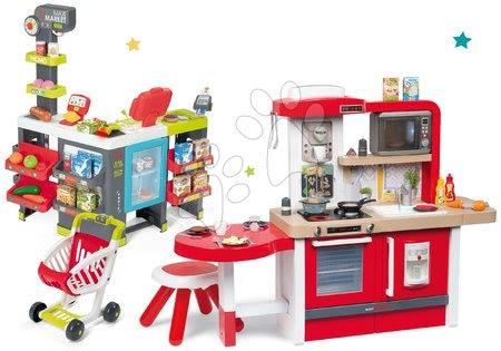 Kuchynky pre deti sety - Set kuchynka rastúca s tečúcou vodou a mikrovlnkou Tefal Evolutive Smoby a obchod Maxi Market s elektronickými funkciami