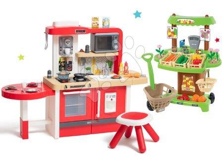 Set kuchyňka rostoucí s tekoucí vodou a mikrovlnkou Tefal Evolutive Smoby a zeleninový Bio stánek s vozíkem Organic 100% Chef jako dárek
