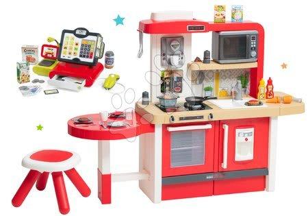 Set bucătărie de jucărie, care crește împreună cu vârsta cu apă curgătoare și microunde Tefal Evolutive Smoby și casă de marcat Marchande electronică cu sunete, cântar, cititor cod de bare