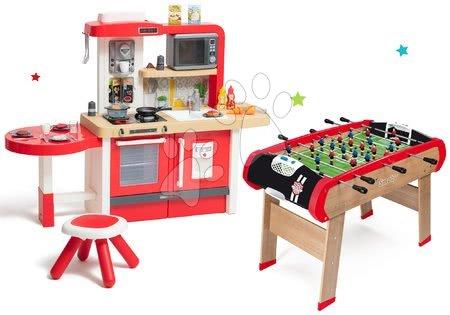 Kuchynky pre deti sety - Set kuchynka rastúca s tečúcou vodou a mikrovlnkou Tefal Evolutive Smoby a drevený futbalový stôl BBF Champions