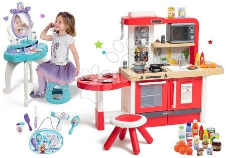 Set kuchyňka rostoucí s tekoucí vodou a mikrovlnkou Tefal Evolutive Smoby a kosmetický stolek Frozen s taštičkou pro kadeřnici a potravinami