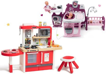 Set bucătărie de jucărie, care crește împreună cu vârsta cu apă curgătoare și microunde Tefal Evolutive Smoby și centru de bebe Violette Baby Nurse Large Doll's Play Center
