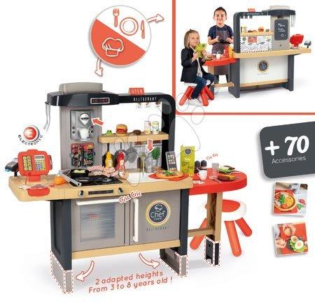 Kuchynky pre deti sety - Set reštaurácia s elektronickou kuchynkou Chef Corner Restaurant Smoby a pracovná dielňa Cars s elektronickým trenažérom_1