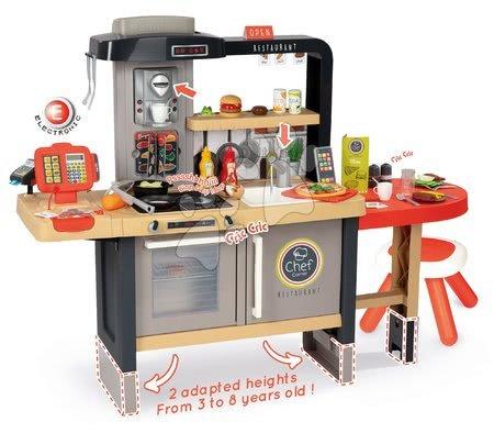 Kuchynky pre deti sety - Set reštaurácia s elektronickou kuchynkou Chef Corner Restaurant Smoby a kozmetický stolík Frozen so servírovacím vozíkom_1
