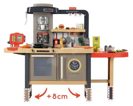 Kuchynky pre deti sety - Set reštaurácia s elektronickou kuchynkou Chef Corner Restaurant Smoby s mikrovlnkou Tefal a upratovací vozík so žehliacou doskou_1
