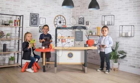 Játékkonyhák - Szett étterem elektronikus konyhácskával Chef Corner Restaurant Smoby zöld és kék kisszékkel_1