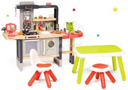 Szett étterem elektronikus konyhácskával Chef Corner Restaurant Smoby és zöld asztal piros székkel SM312303-17