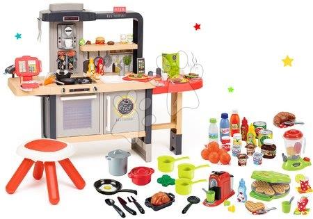 Játékkonyhák - Szett étterem elektronikus konyhácskával Chef Corner Restaurant Smoby és gofrisütő turmixgéppel, élelmiszerekkel és edényekkel