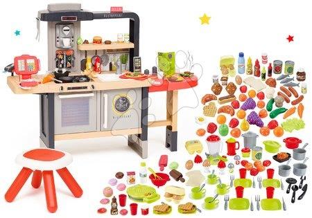 Reštaurácia s elektronickou kuchynkou Chef Corner Restaurant Smoby s potravinami 75 ks a vaflovač s riadom 70 ks SM312303-26