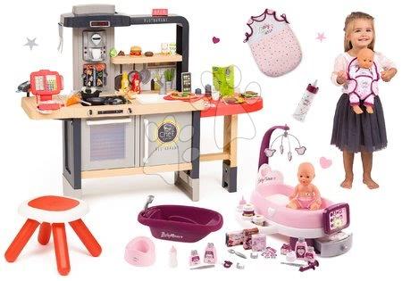 Kuchynky pre deti sety - Set reštaurácia s elektronickou kuchynkou Chef Corner Restaurant Smoby a opatrovateľské centrum s vaničkou a nosítko s fľaškou a nočným úborom