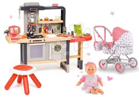 Kuchynky pre deti sety - Set reštaurácia s elektronickou kuchynkou Chef Corner Restaurant Smoby a hlboký skladací kočík s bábikou so 4 zvukmi a 3 melódiami