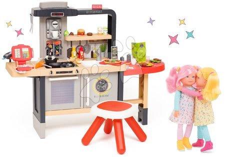 Reštaurácia s elektronickou kuchynkou Chef Corner Restaurant Smoby a bábiky kamošky Praline a Celeste Rainbow Dolls SM312303-31A
