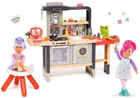 Reštaurácia s elektronickou kuchynkou Chef Corner Restaurant Smoby a bábiky kamošky Praline a Celeste Rainbow Dolls SM312303-31B