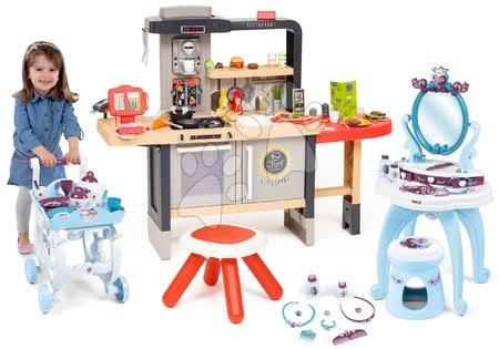 Kuchynky pre deti sety - Set reštaurácia s elektronickou kuchynkou Chef Corner Restaurant Smoby a kozmetický stolík Frozen so servírovacím vozíkom