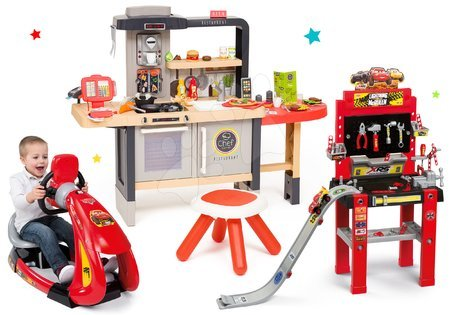 Set reštaurácia s elektronickou kuchynkou Chef Corner Restaurant Smoby a pracovná dielňa Cars s elektronickým trenažérom
