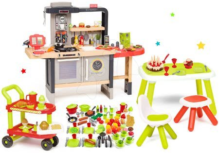Kuchynky pre deti sety - Set reštaurácia s elektronickou kuchynkou Chef Corner Restaurant Smoby a servírovací vozík s potravinami a narodeninová torta na stole so stoličkou