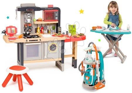 Kuchynky pre deti sety - Set reštaurácia s elektronickou kuchynkou Chef Corner Restaurant Smoby s mikrovlnkou Tefal a upratovací vozík so žehliacou doskou