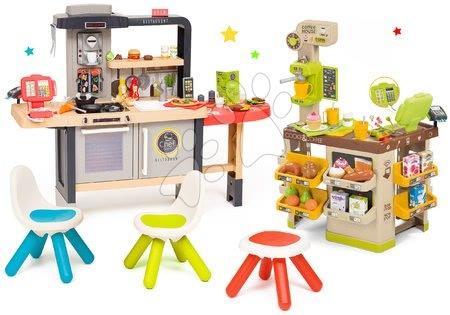 Kuchynky pre deti sety - Set reštaurácia s elektronickou kuchynkou Chef Corner Restaurant Smoby s kútikom kaviarňou so stoličkami