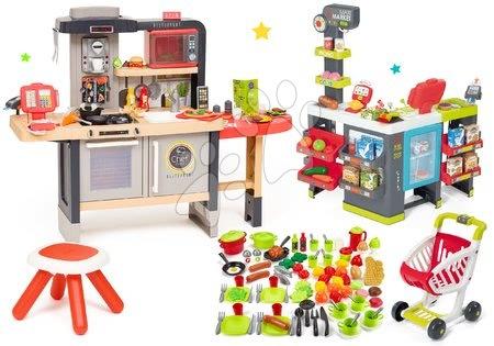 Kuchynky pre deti sety - Set reštaurácia s elektronickou kuchynkou Chef Corner Restaurant Smoby s mikrovlnkou a obchod Maxi Market a potraviny s riadom 100 druhov