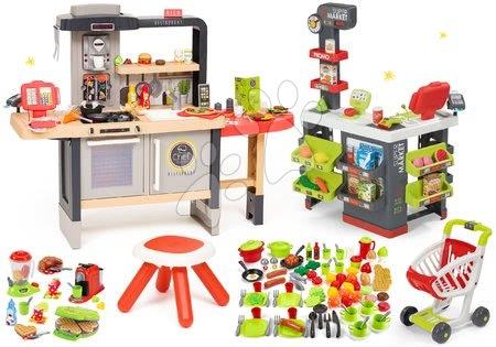 Kuchynky pre deti sety - Set reštaurácia s elektronickou kuchynkou Chef Corner Restaurant Smoby s vaflovačom a supermarket a potraviny s riadom 100 druhov