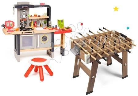 Kuchynky pre deti sety - Set reštaurácia s elektronickou kuchynkou Chef Corner Restaurant Smoby s dreveným futbalovým stolom