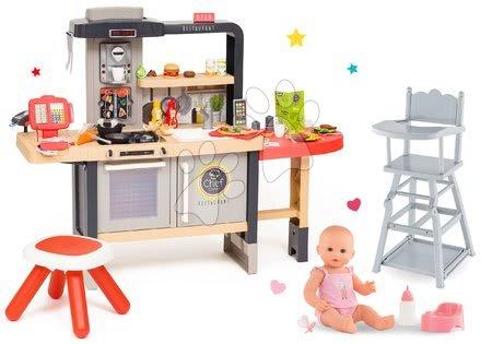 Kuchynky pre deti sety - Set reštaurácia s elektronickou kuchynkou Chef Corner Restaurant Smoby s jedálenskou stoličkou a cikajúcou bábikou