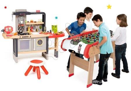 Kuchynky pre deti sety - Set reštaurácia s elektronickou kuchynkou Chef Corner Restaurant Smoby a drevený stolný futbal, biliard, hokej a tenis