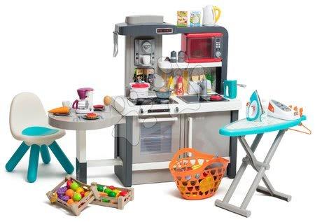 Bucătărie care crește cu copilul cu apă curgătoare Tefal Evolutive Gourment Smoby cu echipament complet și masă de călcat
