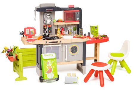 Játékkonyhák - Étterem elektronikus konyhával Chef Corner Restaurant Smoby kertben kenyérpiritóval