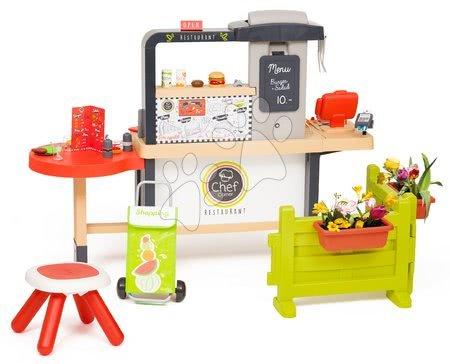 Játékkonyhák - Étterem elektronikus konyhával Chef Corner Restaurant Smoby előkerttel és bevásárlótáskával_1