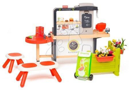 Restaurace s elektronickou kuchyňkou Chef Corner Restaurant Smoby s lavičkou