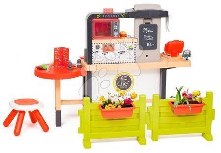 Restaurace s elektronickou kuchyňkou Chef Corner Restaurant Smoby s plotem a mikrovlnkou