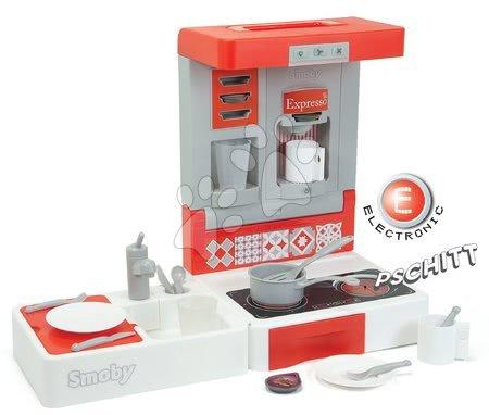 Játékkonyha utazásokhoz Cook&Go Red Smoby összecsukható elektronikus hanggal és 17 kiegészítővel